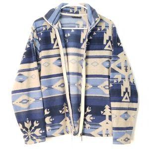 Jane Ashley aztec patterned fleece zip up coat